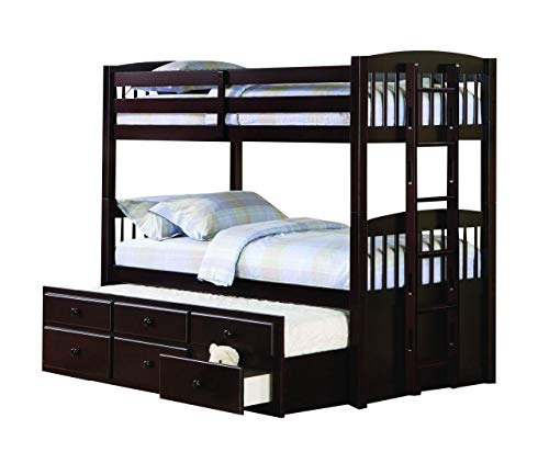 (Coaster Home Furnishings Kensington Twin Over Twin Bunk Bed with Trundle Understorage Cappuccino)