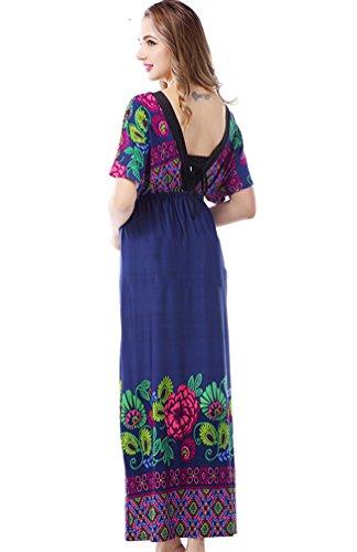 YOUJIA Mujer Cuello en V Suelto Maxi Vestido de playa Vestidos de Fiesta Floral Marina