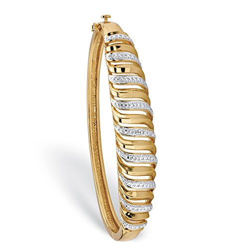 Palm Beach Jewelry White Diamond Accent 18k Gold-Plated Two-Tone Pave-Style Bangle Bracelet 7.25""