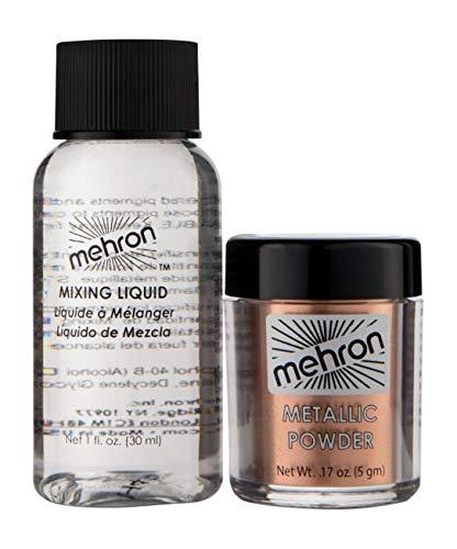 Mehron Makeup Metallic Powder (.17 oz) with Mixing Liquid (1 oz) (COPPER)