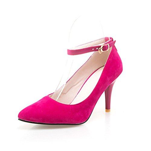 y de Unidos Estados Zapatos gules Mujer Tacón en los Satin Zapatos Alta Heel Punta la de Shoes Código Grandes el Europa Otoño Durante de Primavera gwYBXxqv