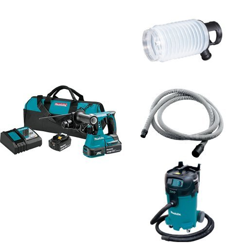 Makita XRH01T 18V LXT Brushless 1-Inch Rotary Hammer Kit, 195173-3 Dust Extraction Cup, 192108-A 3/4-Inch by 10-foot Vacuum Hose, VC4710 12-Gal Xtract Vac Wet/Dry Dust Extractor/Vacuum