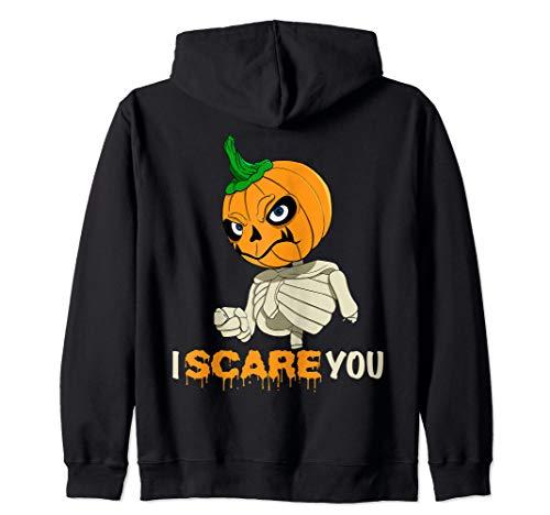 Halloween Make Skelett (Spooky Halloween Costume - Skelett Pumpkin Head I Scare You Zip)