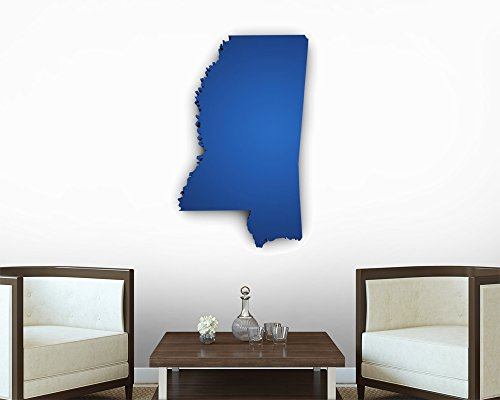 Map of Mississippi 3D Shape Peel and Stick Fabric Wall Sticker by Wallmonkeys Wall Decals - 36 Inches H x 36 Inches W