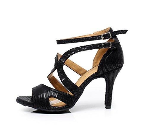 Minishion Qj7033 Donna Tacco A Spillo Sintetico Tango Scarpe Da Ballo Latino Nero