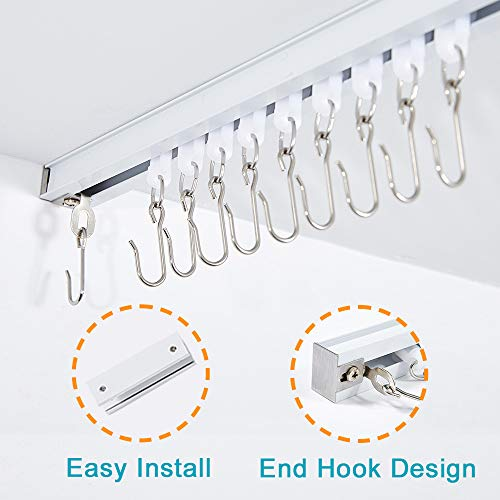 r Curtains, Room Divider, Ceiling Curtain Track, Room Divider Curtain Rod, Numerous Hooks with End Hook, Easy Install, for Spaces 6ft - 9ft, White ()
