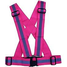 High Visibility Elastic Reflective Safety Vest Harness Jogging Belts (Pink)