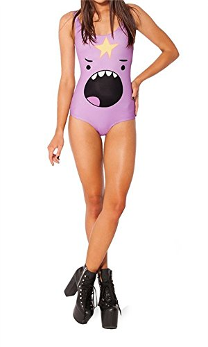 Amoluv Women Lumpy Space Princess Shout Pattern Tight Stretch One Piece Swimsuit