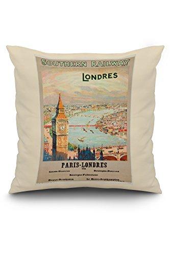 Londres Natural (Southern Railway - Londres Vintage Poster England c. 1925 (20x20 Spun Polyester Pillow, White Border))