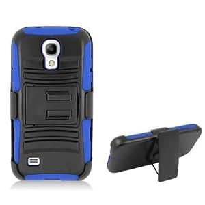 Cerhinu For Samsung Galaxy S4 mini I9191 Blue Armor Case, w/ Black Belt Clip & Black Stand