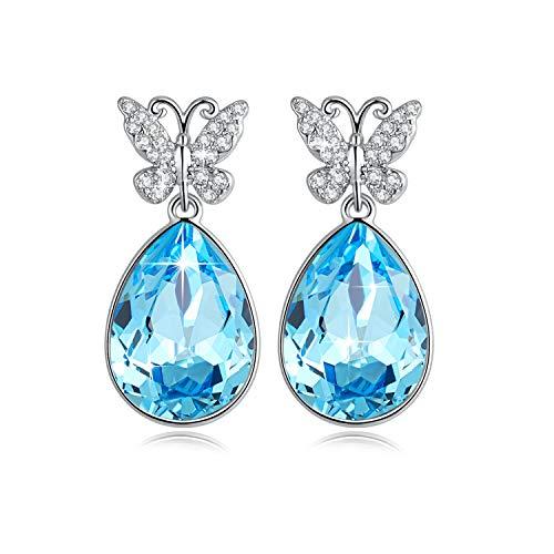 Etanoluv Woman Drop Dangle Earrings Angel Teardrop with Crystal from Swarovski Christmas Birthday Gift Ocean Blue (Topaz Earring Kit)