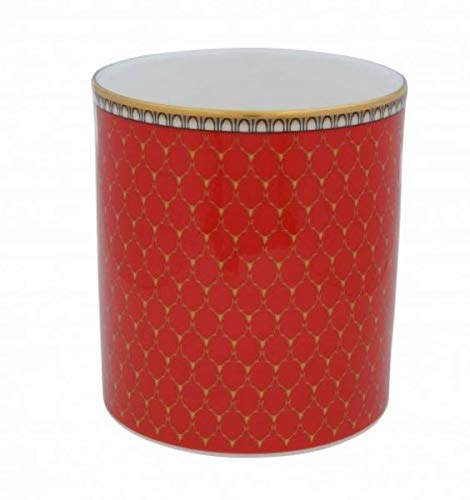 Halcyon Days, Antler Trellis Red Fine English Bone China Candle Holder/Container, 24K Gold Trim