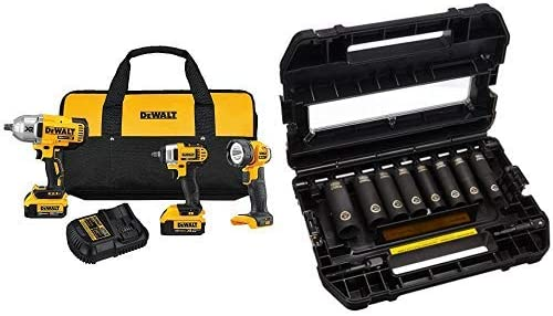 DEWALT DCK398M2 20V MAX Lithium Ion 3-Tool Combo Kit with 2 Batteries and Charger with DEWALT DW22838 3 8-Inch 10-Piece IMPACT READY Socket Set