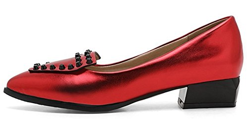 IDIFU Closed Heels Slip Pointed On Toe Studded Red Low Womens Top Shoes Low Classic Chunky Pumps r1WnqrA