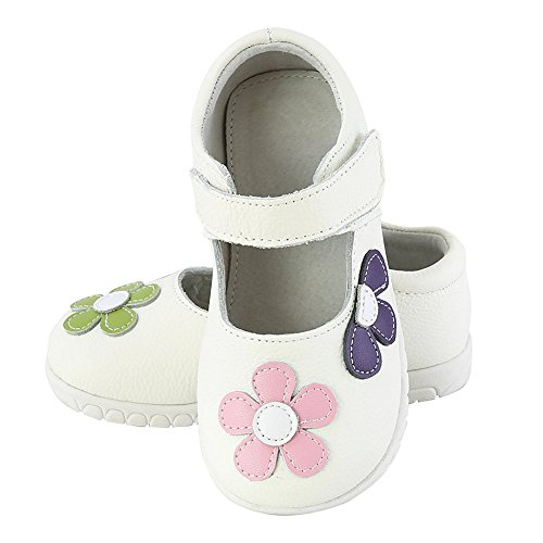 Oderola Mädchen Halbschuhe Leder Prinzessin Schuhe mit Blumen Anti-Rutsch Weiches Sole Baby Ballerina Mary Jane Sandalen Weiß