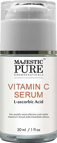 Majestic Pure Vitamin C Serum for Face and Neck with L-accorbic Acid, 1 fl oz - Sun Damage, Dark Circles Under Eyes, Wrinkles and Skin Brightening Serum