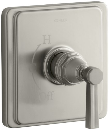 KOHLER K-T13135-4B-BN Pinstripe Rite-Temp Pressure-Balancing Valve Trim with Lever Handle, Valve Not Included, Vibrant Brushed Nickel - Bn Pinstripe Handles