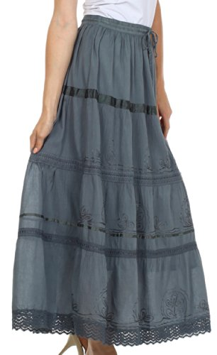 AA554 - Solid Embroidered Gypsy / Bohemian Full / Maxi / Long Cotton Skirt - Gray/One Size Photo #6