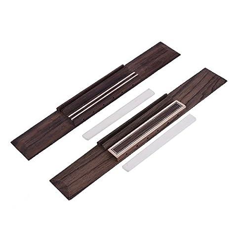 Classical Guitar Bridge Rosewood and Bone Saddle Blank for Guitar Parts Replacement Set of 2 - Acoustic Classical Guitar Bridge