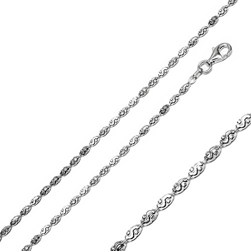 Double Accent 2.2mm Sterling Silver Italian Necklace Rhodium Plated Oval Wavy DC Bead Chain (18, 20, 24 Inch), 20
