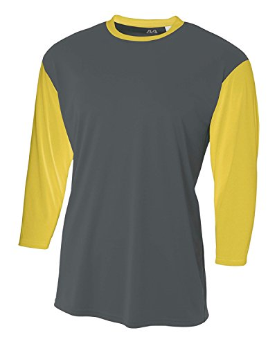 Sleeve Utility Shirt - A4 Men's 3/4 Sleeve Utility Shirt M Graphite /Gold