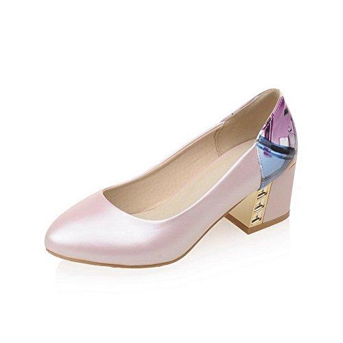 VogueZone009 Damen Weiches Material Ziehen auf Rund Zehe Niedriger Absatz Pumps Schuhe, Lila, 38