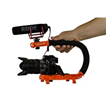 Cam Caddie Scorpion Jr. Video Camera Stabilizing Handle with Included Smartphone and GoPro Compatible Mounts - Orange (0CC-0100-JR-ORA)