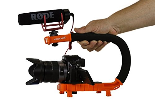 Cam Caddie Scorpion Jr Stabilizing Camera Handle for DSLR and GoPro Action Cameras - Professional Handheld U/C-Shaped Grip with Integrated Accessory Shoe Mount for Microphone or LED Video Light - Includes: Smartphone / GoPro Adapters and 1/4-20 Threaded Mounting Knob - Orange Dslr Cam
