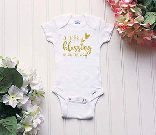 Itty Bitty Glitter - A Little Blessing Onesie® - baby Onesies®®, expecting Onesie®, glitter Onesie®, baby announcement, religious Onesie®, announcement Onesie®