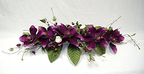 Wedding Flowers 2' Gold Trimmed Magnolia Dogwood Swag Silk Arch Home Party Decor (purple) by Wedding Flowers