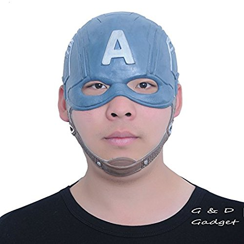 [Captain America Mask Rubber Latex Party Mask Head Costume Full Face Cospaly Mask] (Captain America Costumes For Adults)