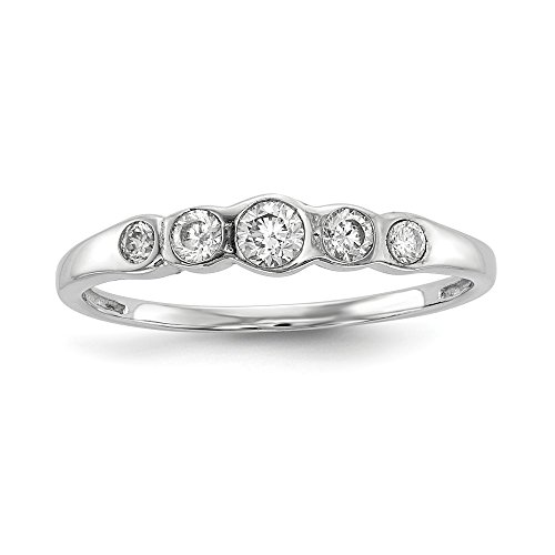 Sterling Silver Rhodium-plated 5-stone Bezel Set CZ Ring Size 8