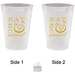 Engagement/Wedding Frost Flex Plastic Cups - Eat Drink and be Married