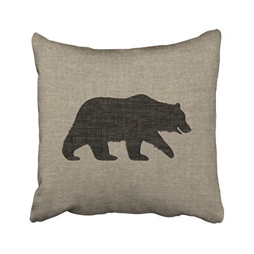 Emvency Square 16x16 Inches Decorative Pillowcases bear grizzly bear silhouette faux linen burlap style Cotton Polyester Decor Throw Pillow Cover With Hidden Zipper For Bedroom Sofa ()