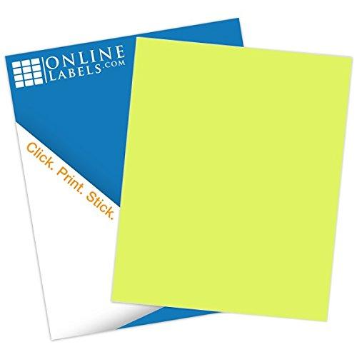 Pastel Yellow Sticker Paper - 100 Sheets - 8.5 x 11 Full Sheet Label - Inkjet/Laser Printer - Online Labels