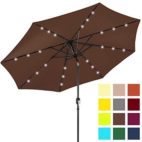 Best Choice Products 10ft Solar LED Lighted Patio Umbrella w/Tilt Adjustment, Fade-Resistant Fabric - Brown