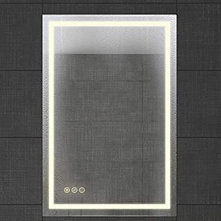 Defogger /& Dimmer|Touch Switch|Copper Free Silver Backed B/&C Super Slim Bathroom MirrorVertical or Horizontal| LED Backlit Apollo-E 20x28 Inch Polished Eadge /&Frameless