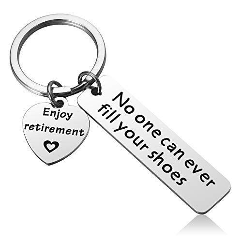 MIXJOY Retirement Keychain Gifts for Coworker - No One Can Ever Fill Your Shoes Mens Retirement Gifts -