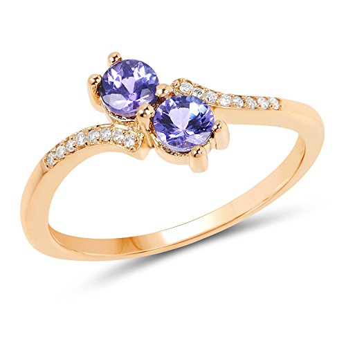 14K Yellow Gold Tanzanite and White Diamond Ring (0.51 cttw, I-J Color, I2-I3 Clarity) from Johareez (Tanzanite Gold White Jewelry Ring)