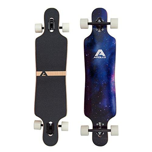 Apollo Longboard Nebula Komplettboard mit High Speed ABEC Kugellagern, Drop Through Freeride Skaten Cruiser Board