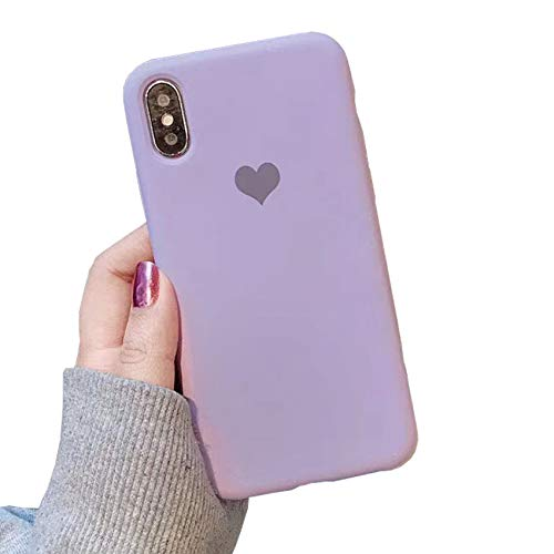 - YonMeet Liquid Silicone Case for iPhone Xs Max Love Heart Cover Slim Soft Flexible Shockproof Back Shell (Purple, iPhone Xs Max 6.5'')