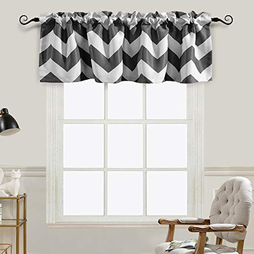 Melodieux Chevron Room Darkening Rod Pocket Window Curtain Valance for Kitchen, 52 by 18 Inch, Grey (1 Panel) (Chambray Voile Rod Pocket)