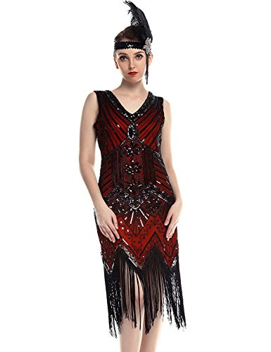 Flapper Girl Women's 1920s Gastby Sequined Art Nouveau Embellished Fringed Flapper Dress (XXL, Red)