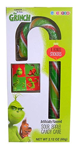 Dr. Seuss' The Grinch Sour Apple Gaint Candy Cane with Stickers, 2.12 oz