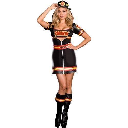 Smokin Hot Firefighter Costume (Dreamgirl Women's Smokin Hot Fire Fighter Zip-Front Dress, Black,)