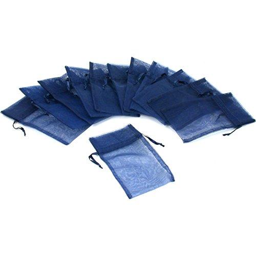 3x4 Navy Blue Organza Bags - 12 Jewelry Navy Blue Organza Drawstring Gift Bags 3x4