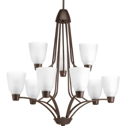 Progress Lighting P4173-20WB 9-Light 2-Tier Chandelier with Bulb Etched Glass - Two Foyer Fixture Tier