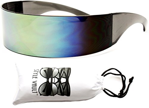 V138-vp Robocop Robot Censored Party Sunglasses (1521D 3# Lime Rainbow, - Sunglasses Censored