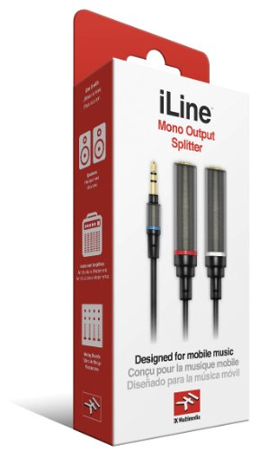 Mono Output Splitter IK Multimedia Cable for Mobile Phones and Tablets - Retail Packaging - Black (Low Capacitance Wire)