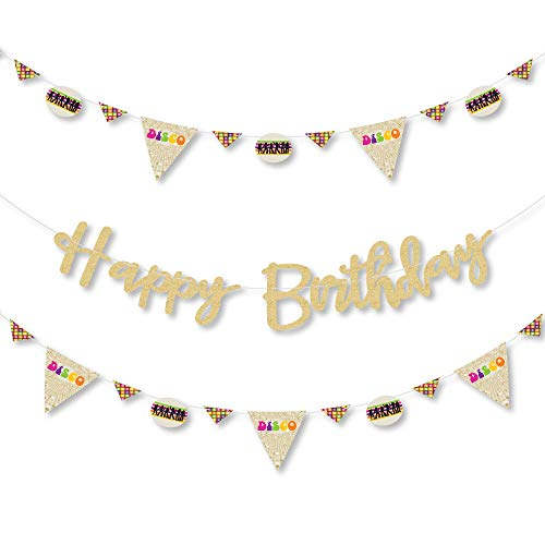 70's Disco - 1970s Disco Fever Birthday Party Letter Banner Decoration - 36 Banner Cutouts and No-Mess Real Gold Glitter Happy Birthday Banner ()